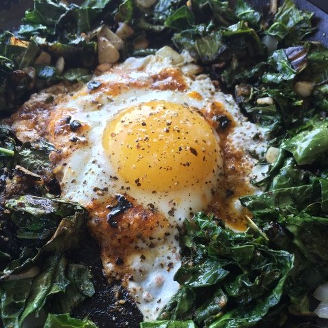 Eggs and Greens with Salsa Macha