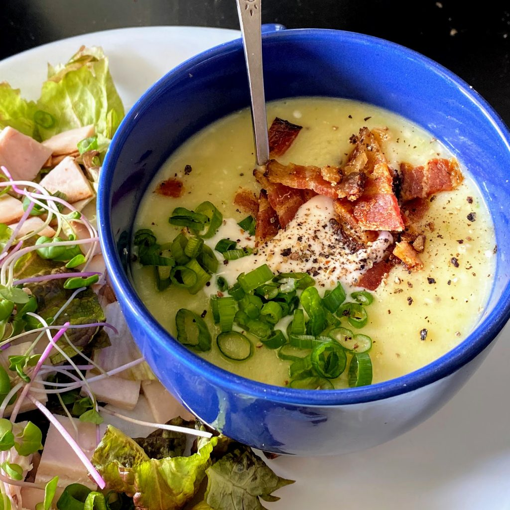 Easy Loaded Cauliflower Baked Potato Soup with Side Salad