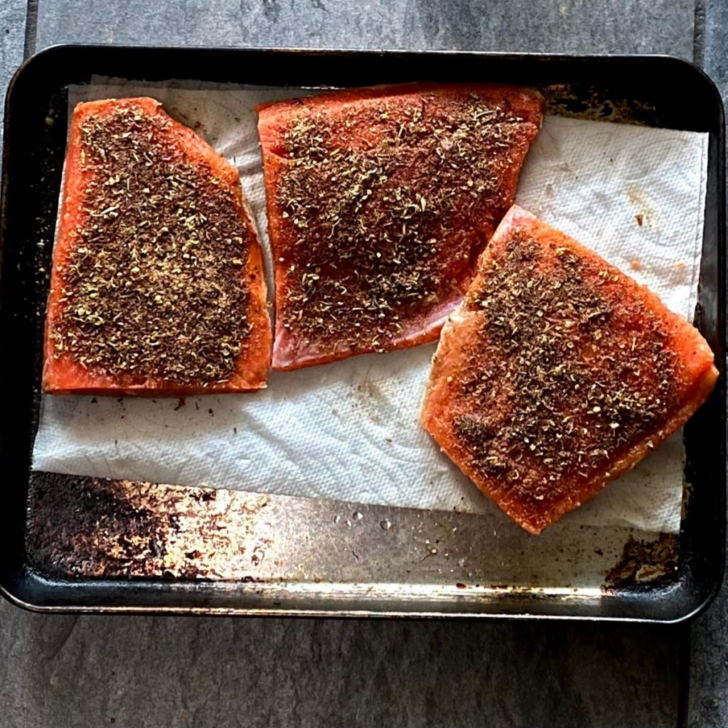 Whole30 Blackened Salmon before cooking